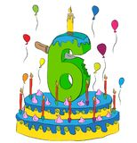 Urodzinowy tort Z liczbą Sześć świeczek, Świętuje szóstego rok życie, Kolorowych balony i Czekoladowego narzut, Obrazy Royalty Free
