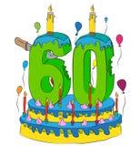 60 Urodzinowy tort Z liczbą Sześćdziesiąt świeczek, Świętuje Sixtieth rok życie, Kolorowych balony i Czekoladowego narzut, Zdjęcia Stock