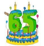 65 Urodzinowy tort Z liczbą Sześćdziesiąt pięć świeczek, Świętuje kwinta rok życie, Kolorowych balony i Czekoladowego narzut, Fotografia Stock