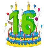 Urodzinowy tort Z liczbą Szesnaście świeczek, Świętuje Sixteenth rok życie, Kolorowych balony i Czekoladowego narzut, Zdjęcia Royalty Free