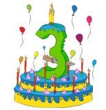 Urodzinowy tort Z liczbą Trzy świeczki, Świętować Trzeci Rok życie, Kolorowi balony i Czekoladowy narzut, Fotografia Royalty Free