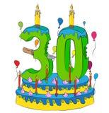 30 Urodzinowy tort Z liczbą Trzydzieści świeczek, Świętuje Thirtieth rok życie, Kolorowych balony i Czekoladowego narzut, Obrazy Royalty Free