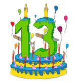 Urodzinowy tort Z liczbą Trzynaście świeczki, Świętuje Thirteenth rok życie, Kolorowych balony i Czekoladowego narzut, Zdjęcia Royalty Free