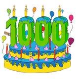 1000 Urodzinowy tort Z liczbą Tysiąc świeczek, Świętuje Thousandth rok życie, Kolorowych balony i Czekoladowego narzut, Fotografia Royalty Free