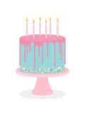 Urodzinowy tort z mrożeniem i płonącymi świeczkami royalty ilustracja