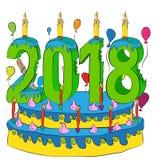 Urodzinowy tort Z nowy rok liczbą 2018 świeczek, Świętuje 2018 nowy rok, Kolorowych balonów i Czekoladowego narzutu, Fotografia Royalty Free