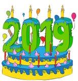 Urodzinowy tort Z nowy rok liczbą 2019 świeczek, Świętuje 2019 nowy rok, Kolorowych balonów i Czekoladowego narzutu, Obraz Royalty Free