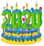 Urodzinowy tort Z nowy rok liczbą 2020 świeczek, Świętuje 2020 nowy rok, Kolorowych balonów i Czekoladowego narzutu, Zdjęcie Stock