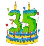 35 Urodzinowy tort Z Numerowym Thity Pięć świeczek, Świętuje kwinta rok życie, Kolorowych balony i Czekoladowego narzut, Zdjęcie Royalty Free