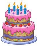 Urodzinowy tort z 5 świeczkami Obraz Royalty Free