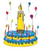 Urodzinowy tort z świeczkami i balonami Fotografia Royalty Free