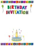 Urodzinowy zaproszenie pisze list A4 stronę dla dzieciaków z blokami, tortem, świeczkami i balonami abecadła, Zdjęcie Stock