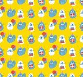 Urodzinowych kotów Bezszwowy wzór ilustracja wektor