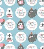 Urodzinowych kotów Bezszwowy wzór ilustracji