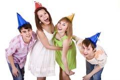 urodziny świętuje grupowych szczęśliwych ludzi Zdjęcia Royalty Free
