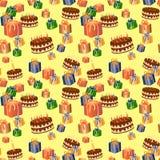 Urodziny bezszwowy wzór Fotografia Stock