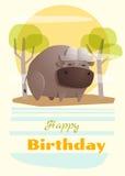 Urodziny i zaproszenia karciany zwierzęcy tło z bufffalo Obrazy Stock