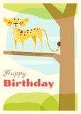 Urodziny i zaproszenia karciany zwierzęcy tło z gepardem Obraz Stock