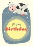 Urodziny i zaproszenia karciany zwierzęcy tło z krową Fotografia Stock
