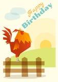 Urodziny i zaproszenia karciany zwierzęcy tło z kurczakiem Obraz Royalty Free