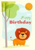 Urodziny i zaproszenia karciany zwierzęcy tło z lwem Zdjęcia Royalty Free