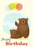 Urodziny i zaproszenia karciany zwierzęcy tło z niedźwiedziem Zdjęcia Stock