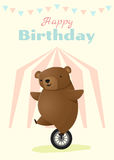 Urodziny i zaproszenia karciany zwierzęcy tło z niedźwiedziem Fotografia Stock