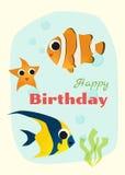 Urodziny i zaproszenia karciany zwierzęcy tło z ryba Zdjęcia Stock