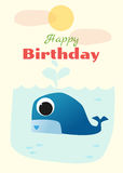 Urodziny i zaproszenia karciany zwierzęcy tło z wielorybem Zdjęcia Royalty Free