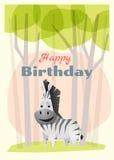Urodziny i zaproszenia karciany zwierzęcy tło z zebrą Obrazy Royalty Free