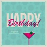 Urodziny karta dla kobiety z koktajlu napojem Zdjęcie Royalty Free