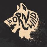 Urodzony dziki Wilk głowa na grunge tle royalty ilustracja