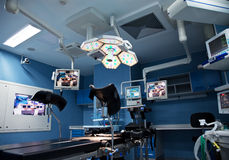 Urology surgery. Room with lights and monitors on Royalty Free Stock Photos
