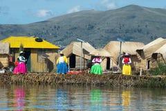 Uros人,浮动海岛,秘鲁 图库摄影
