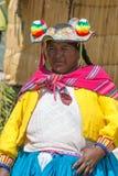 Uros人,浮动海岛,秘鲁 免版税库存照片