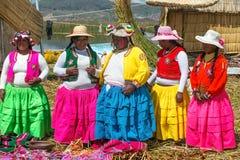 Uros人,浮动海岛,秘鲁 免版税图库摄影