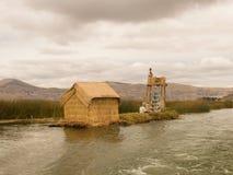 Uros浮动海岛在秘鲁 免版税库存照片