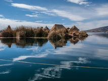 Uros floating island in Lake Titicaca Stock Photo