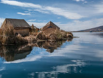 Uros floating island in Lake Titicaca Royalty Free Stock Photo