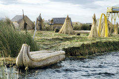 The Uros Floating Islands on Lake Titicaca stock photos