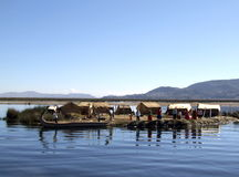 Uros floating islands on Lake Titicaca Stock Images