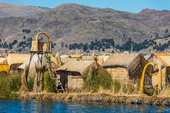 Uros floating Islands in the peruvian Andes at Puno Peru Stock Photos