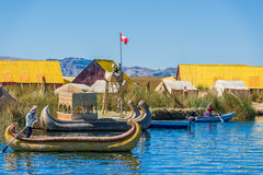 Uros floating Islands in the peruvian Andes at Puno Peru Royalty Free Stock Photography