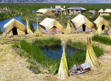 Uros floating islands in Puno, Peru Royalty Free Stock Photos