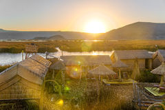 Uros Floating Islands Sunset Royalty Free Stock Photo