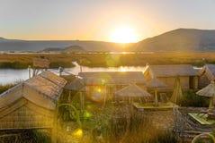 Uros Floating Islands Sunset Royalty Free Stock Photo