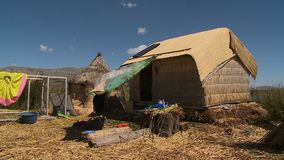 Uros Home Compounds And Huts, Meer Titicaca, Peru stock video