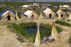 Uros Island. S in Peru, made with totora (tradition and culture Royalty Free Stock Images
