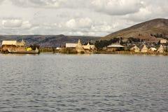 Uros island in Lake Titicaca in Peru Royalty Free Stock Photos