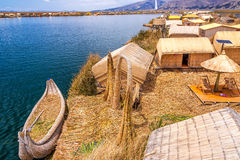 Uros Islands and Boat Royalty Free Stock Photo